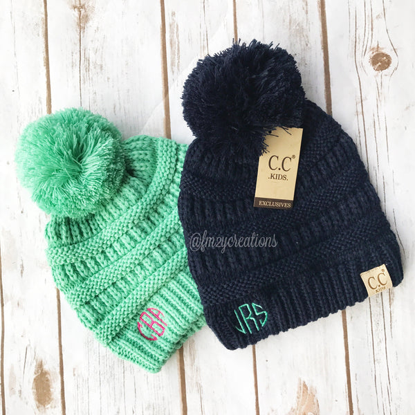 Monogram Youth Pom Beanie