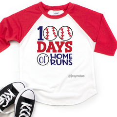 100 Days of Home Runs Raglan