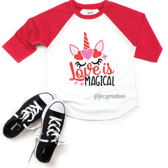 Love Is Magical Unicorn Raglan