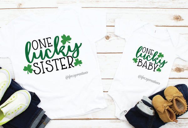 Sister and Baby Matching St. Patrick's Day Shirts