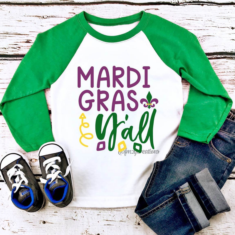 Mardi Gras Y'all Raglan