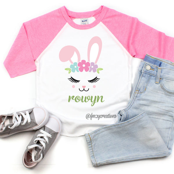 Custom Girls Easter Bunny Shirt