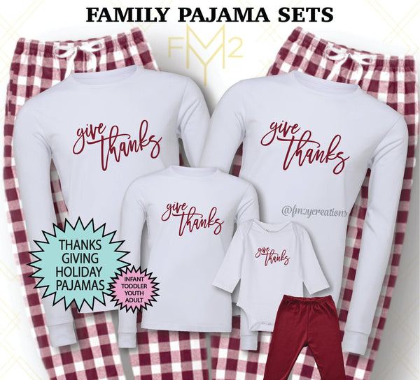 Give Thanks Matching Thanksgiving Family Pajama Sets