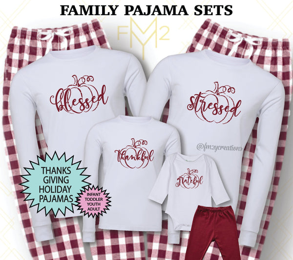 Matching Thanksgiving Family Pajama Sets