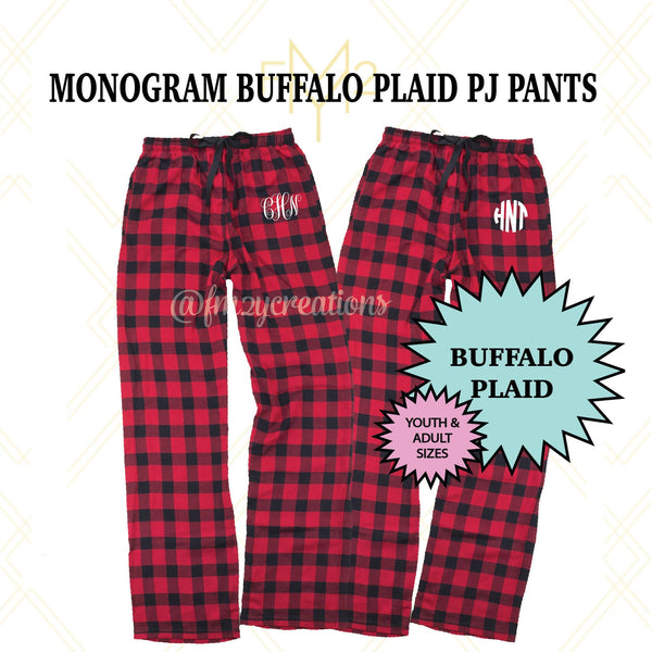 Monogrammed Buffalo Plaid Pajama Pants