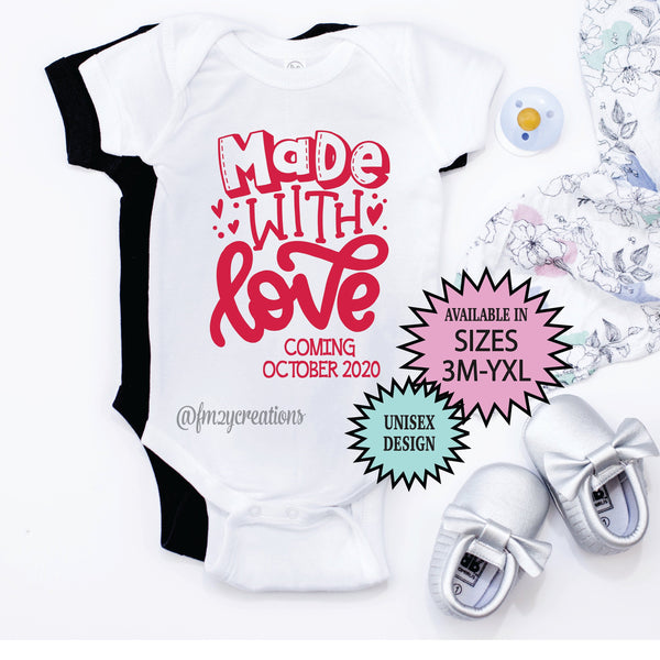Made with Love Pregnancy Reveal Shirt
