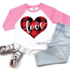Buffalo Plaid Heart Raglan