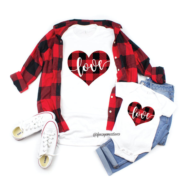 Buffalo Plaid Heart Matching Valentines Day Shirts