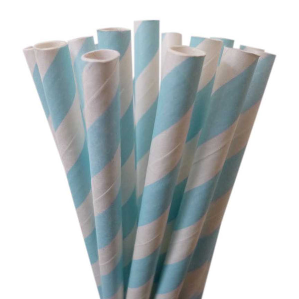VINTAGE LONG STRIPE PAPER STRAWS: Light Blue