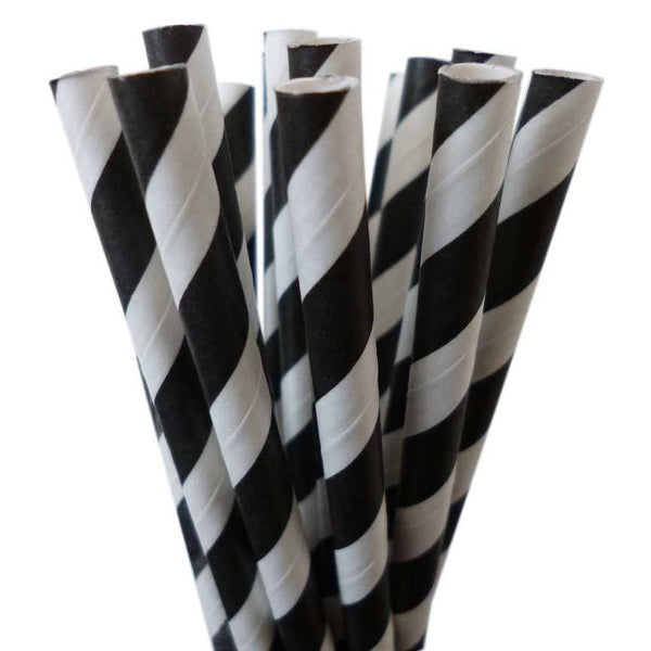 VINTAGE LONG STRIPE PAPER STRAWS: Black