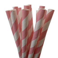 VINTAGE LONG STRIPE PAPER STRAWS: Light Pink - From Me 2 You Creations