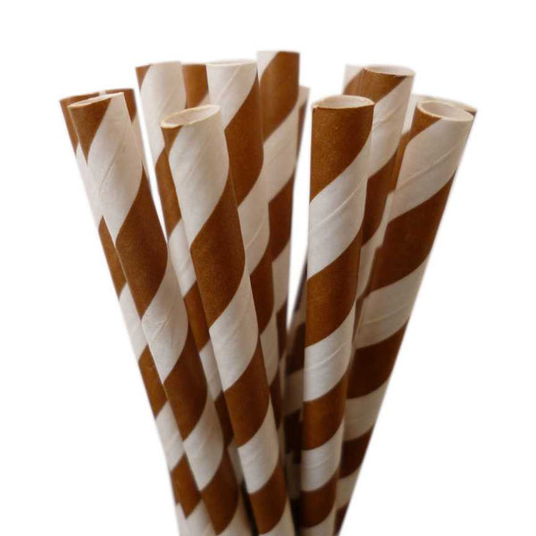 VINTAGE LONG STRIPE PAPER STRAWS: Brown