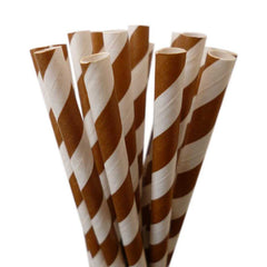 VINTAGE LONG STRIPE PAPER STRAWS: Brown - From Me 2 You Creations