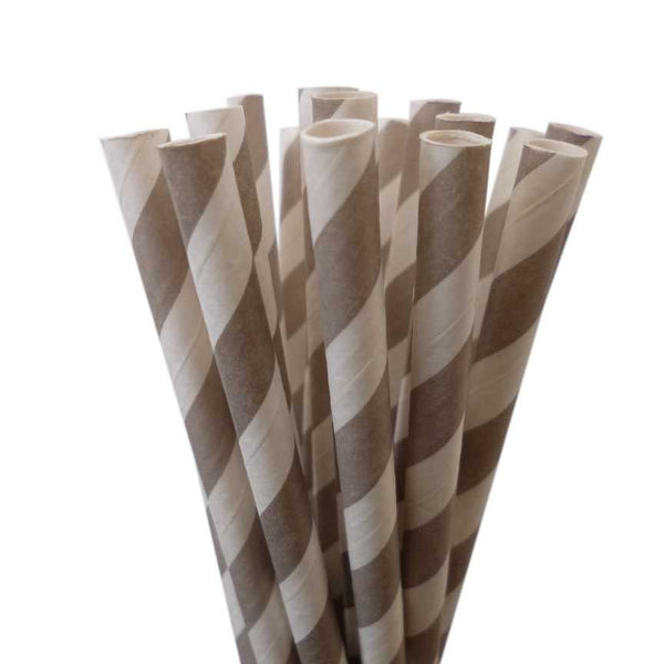 VINTAGE LONG STRIPE PAPER STRAWS: Gray