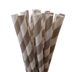VINTAGE LONG STRIPE PAPER STRAWS: Gray - From Me 2 You Creations