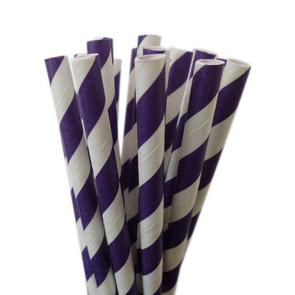 VINTAGE LONG STRIPE PAPER STRAWS: Purple