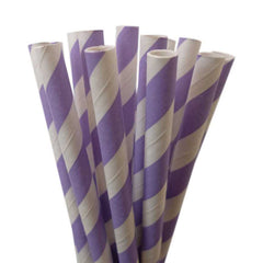 VINTAGE LONG STRIPE PAPER STRAWS: Light Purple