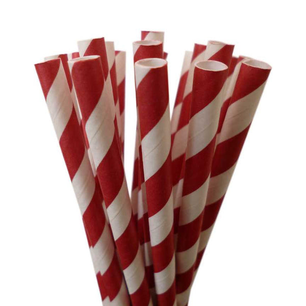 VINTAGE LONG STRIPE PAPER STRAWS: Red (Dark)