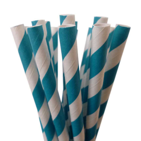 VINTAGE LONG STRIPE PAPER STRAWS: Turquoise