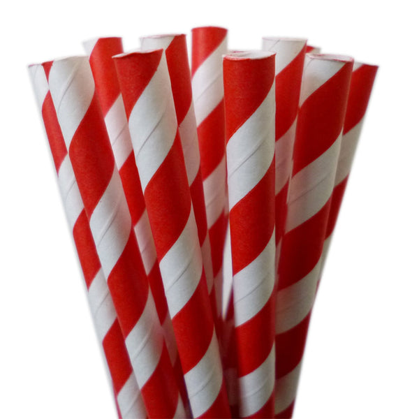 VINTAGE LONG STRIPE PAPER STRAWS: Red (Bright)