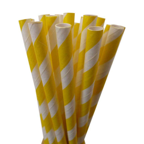 VINTAGE LONG STRIPE PAPER STRAWS: Yellow