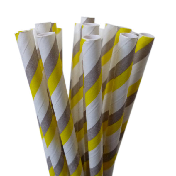 STRIPE PAPER STRAWS: Yellow|Gray