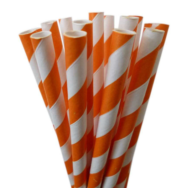 VINTAGE LONG STRIPE PAPER STRAWS: Orange