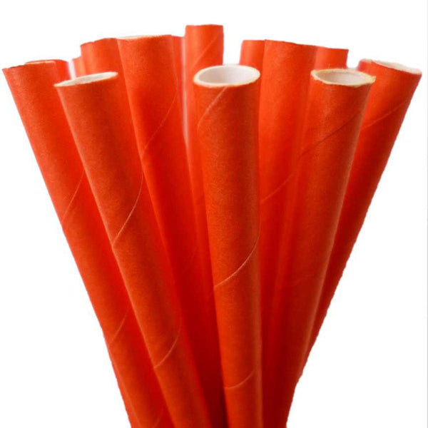 SOLID PAPER STRAWS: Orange