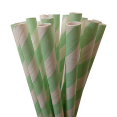 VINTAGE LONG STRIPE PAPER STRAWS: Mint Green - From Me 2 You Creations