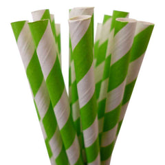 STRIPE PAPER STRAWS: Lime Green - From Me 2 You Creations