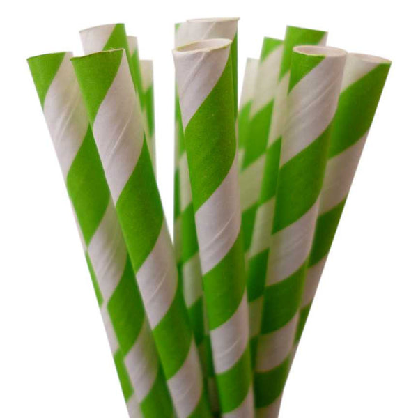 VINTAGE LONG STRIPE PAPER STRAWS: Lime Green