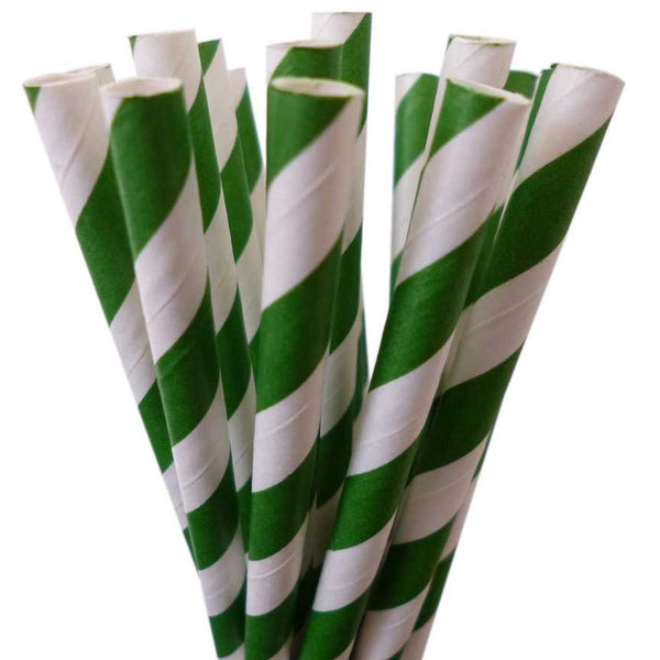 VINTAGE LONG STRIPE PAPER STRAWS: Green
