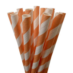 VINTAGE LONG STRIPE PAPER STRAWS: Peach - From Me 2 You Creations