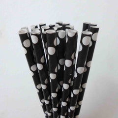 STRIPE PAPER STRAWS: Black - From Me 2 You Creations