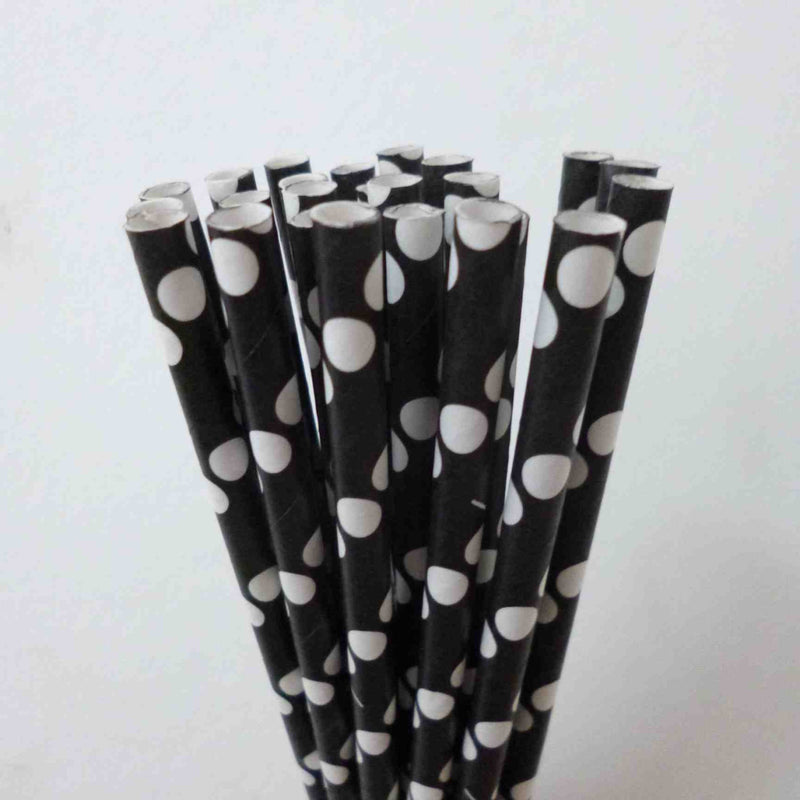 POLKA DOT PAPER STRAWS: White | Black - From Me 2 You Creations