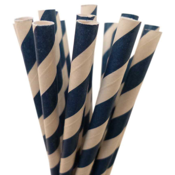 VINTAGE LONG STRIPE PAPER STRAWS: Navy Blue
