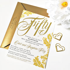 50th Anniversary Invitations with White Envelopes, Golden Wedding Anniversary Party, 50th Birthday Party Celebration - From Me 2 You Creations
