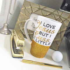 Latte Mug: I Love Jesus But I Cuss A Latte - From Me 2 You Creations