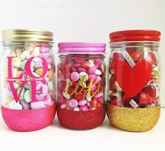 Valentine's Day Glitter Dipped Mason Jars - From Me 2 You Creations