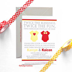 INVITATION | Twin Baby Shower - From Me 2 You Creations