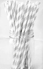 VINTAGE LONG STRIPE PAPER STRAWS: Silver - From Me 2 You Creations