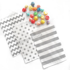 STRIPE FAVOR BAGS: GRAY - From Me 2 You Creations