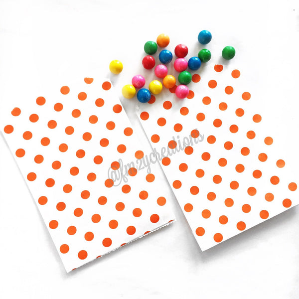 POLKA DOT FAVOR BAGS: ORANGE