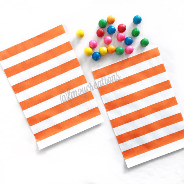 STRIPE FAVOR BAGS: ORANGE