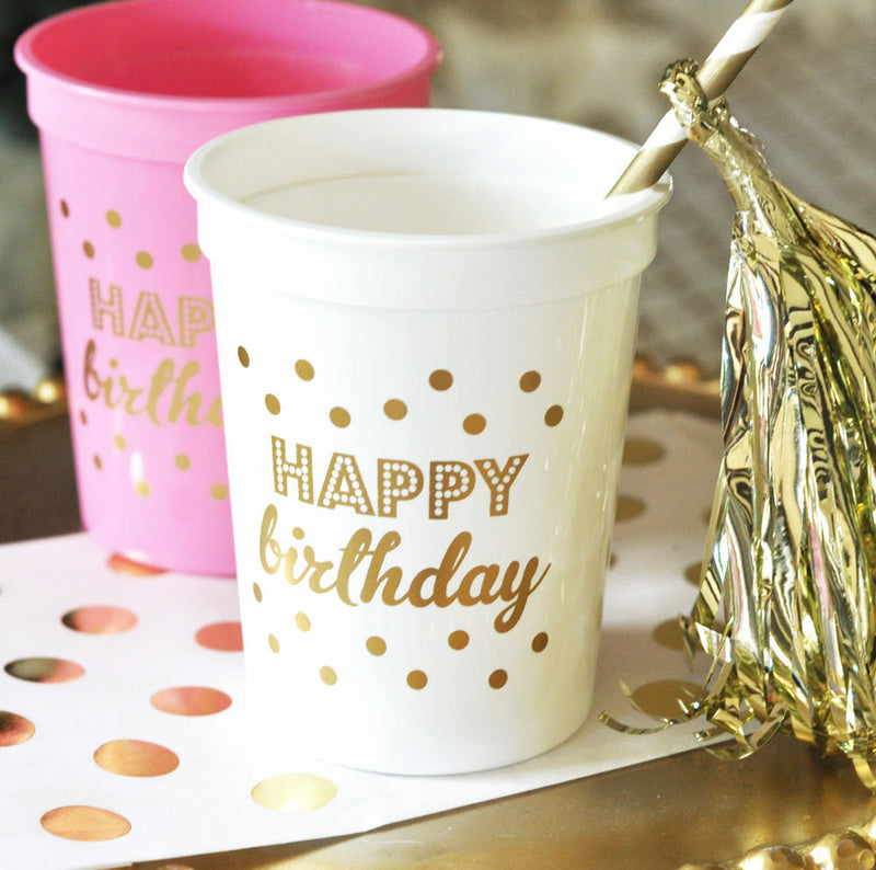 PARTY CUPS PLASTIC: HAPPY BIRTHDAY - From Me 2 You Creations