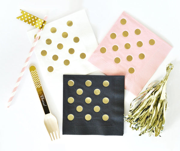 PARTY NAPKINS: Gold Polka Dot