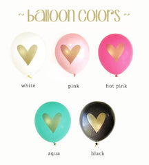 BALLOONS: BLACK & GOLD HEART - From Me 2 You Creations
