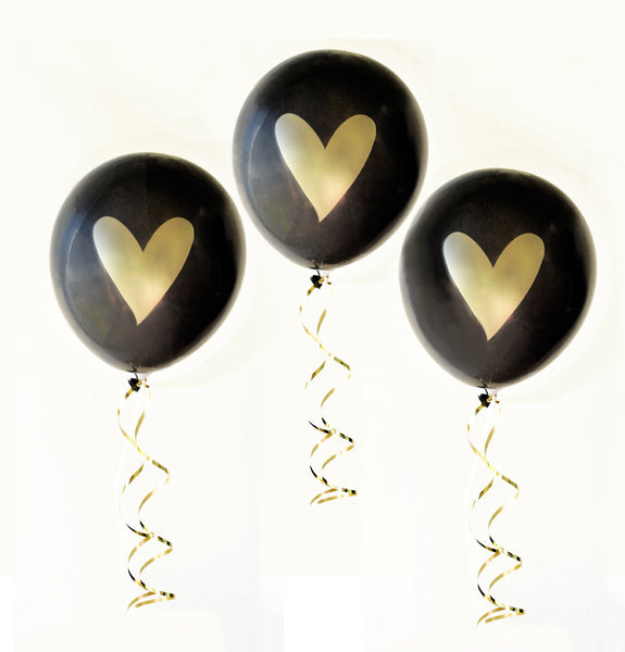 BALLOONS: BLACK & GOLD HEART