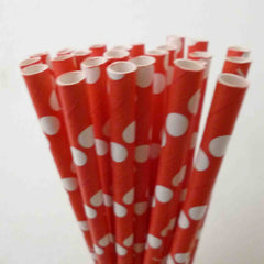 STRIPE PAPER STRAWS: Red (Bright) - From Me 2 You Creations
