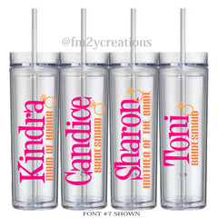 Tumbler Set: Personalized Bridal Party